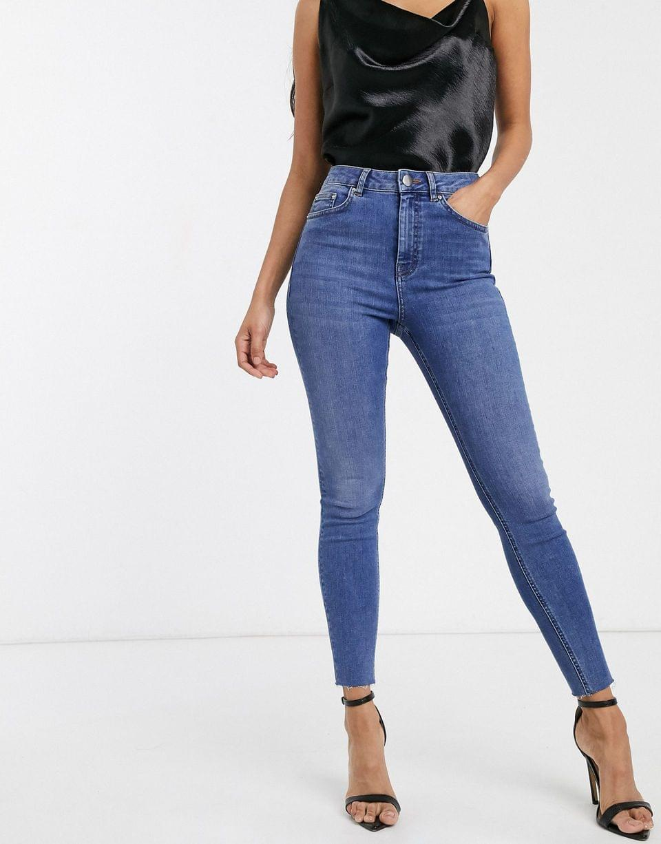 Women's Ridley high waisted skinny jeans in mid blue