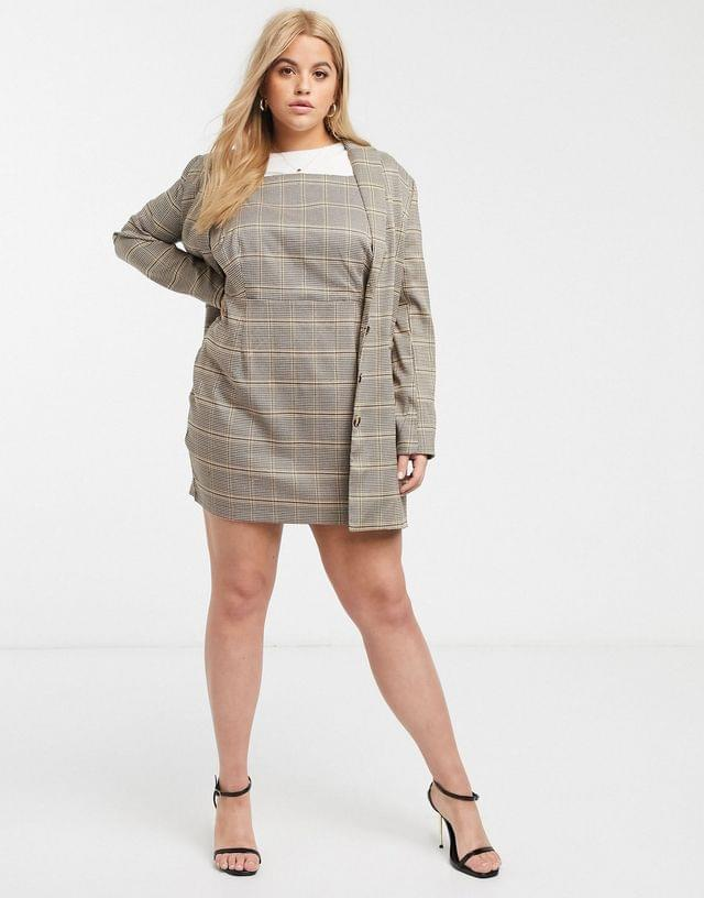 WOMEN In The Style x Fashion Influx Plus blazer dress in check print two-piece