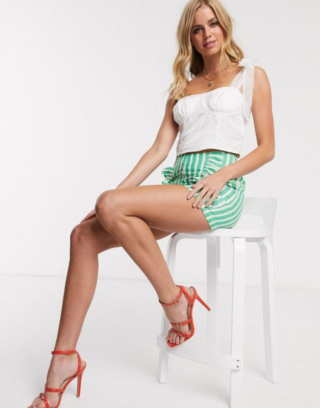 WOMEN In The Style x Fashion Influx corset detail top with bow cami straps in cream