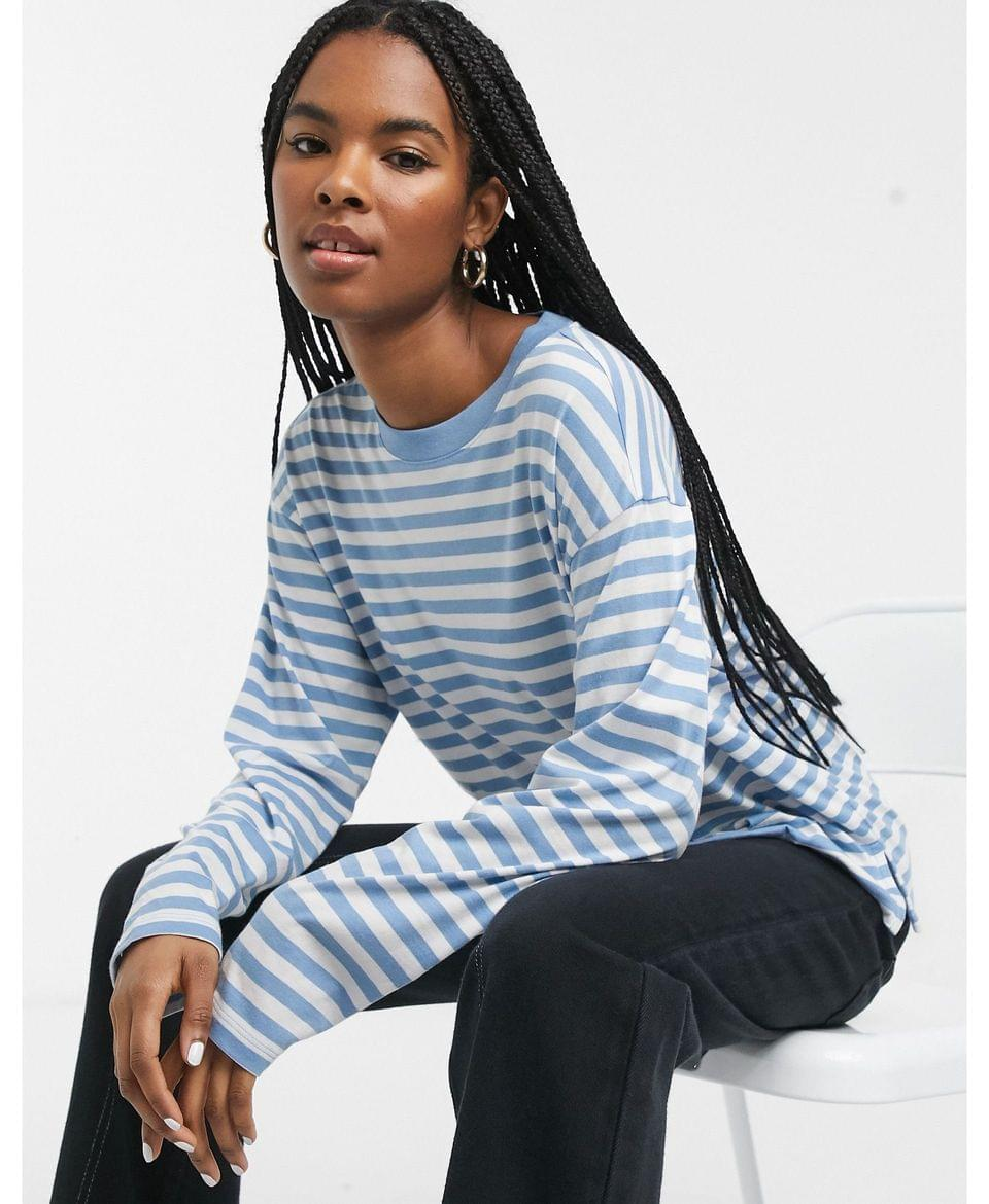 Women's Monki striped long sleeve top in blue and white