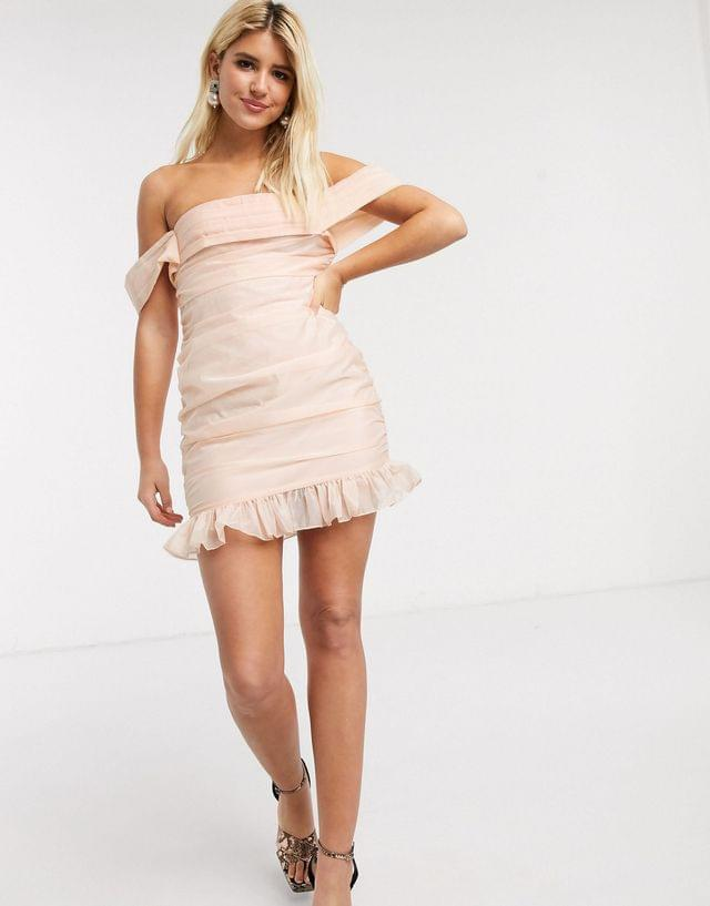 WOMEN In The Style x Fashion Influx organza ruched bardot mini dress in soft peach
