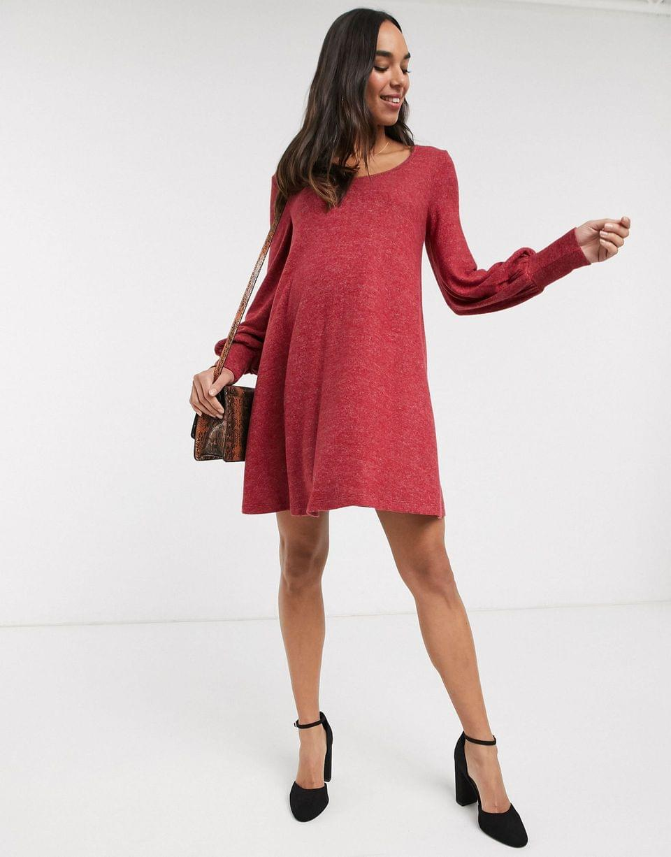 Women's Maternity long sleeve super soft mini smock dress