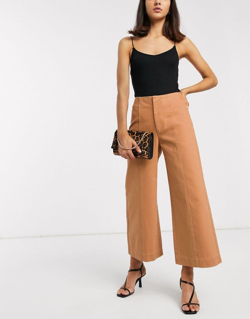 Women's minimal cropped wide leg jeans with seam details