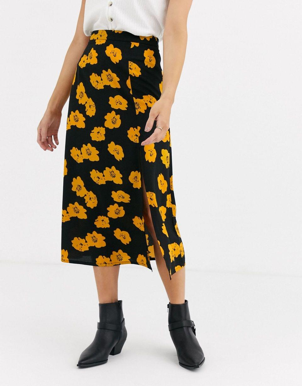 Women's Wednesday's Girl midaxi skirt with split in bright floral