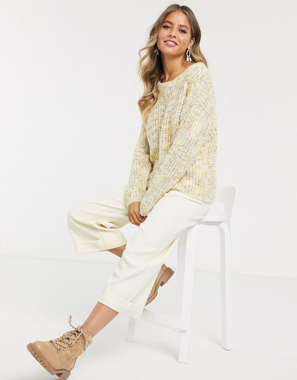 Women's JDY textured sweater in cream