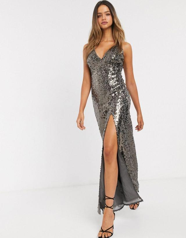 WOMEN Little Mistress Tall strappy sequin maxi gown in copper