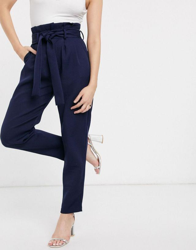 WOMEN In The Style x Laura Jade woven pants in navy