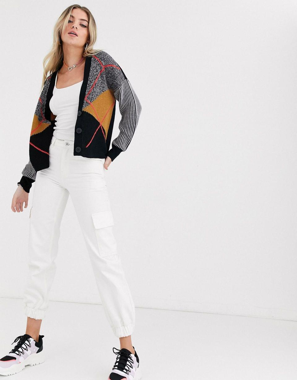 Women's Noisy May cardigan in color block