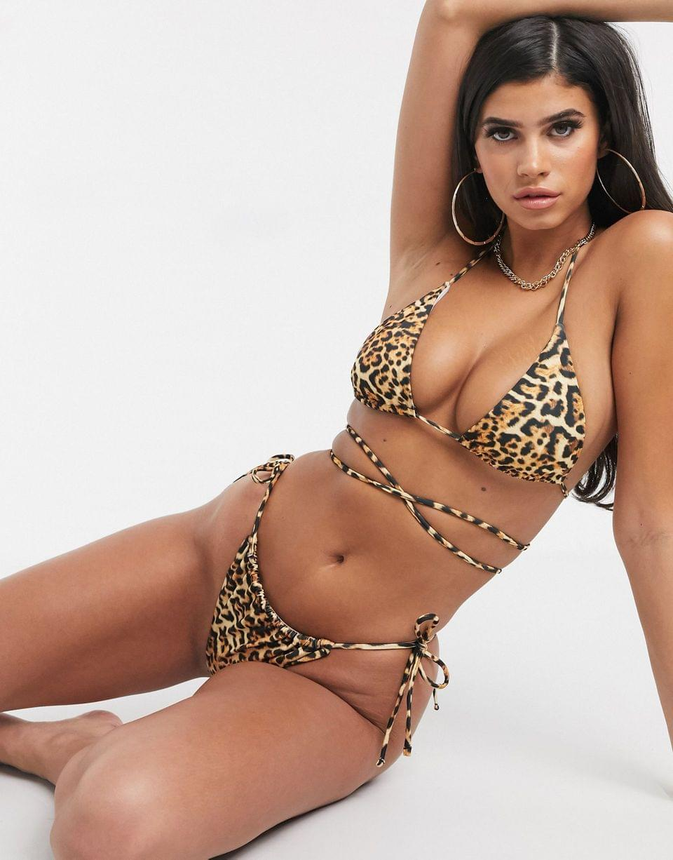 Women's recycled mix and match sleek triangle multiway bikini top in animal leopard print