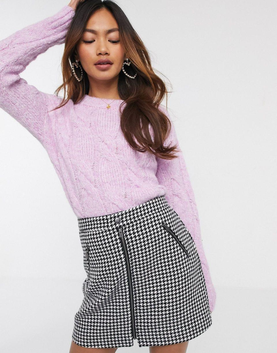 Women's Miss Selfridge cable knit sweater in lilac