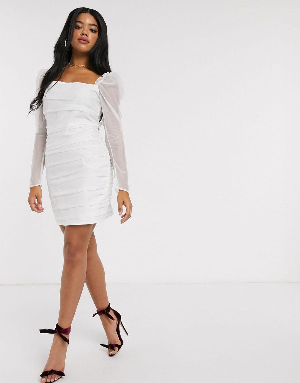 Women's In The Style ruched mesh puff sleeve mini dress in white