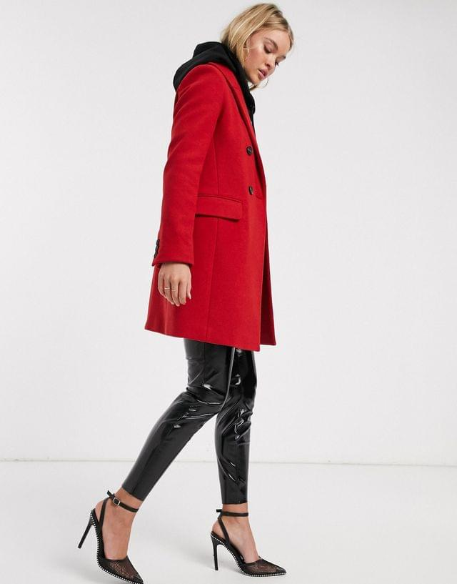 WOMEN Stradivarius double-breasted tailoring coat in red