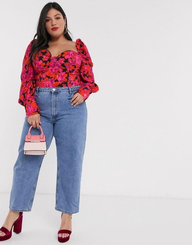 WOMEN In The Style x Fashion Influx Plus puff sleeve corset in floral print
