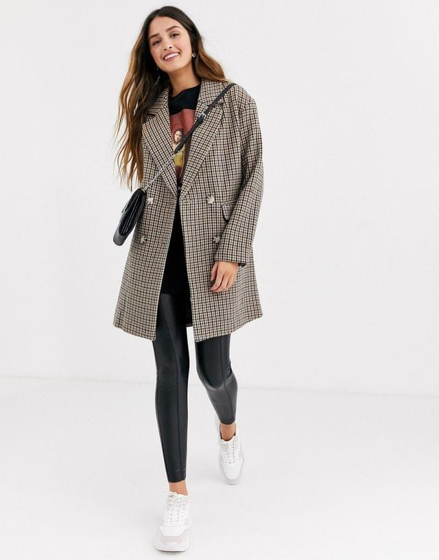 WOMEN Pull&Bear double breasted check coat in multi
