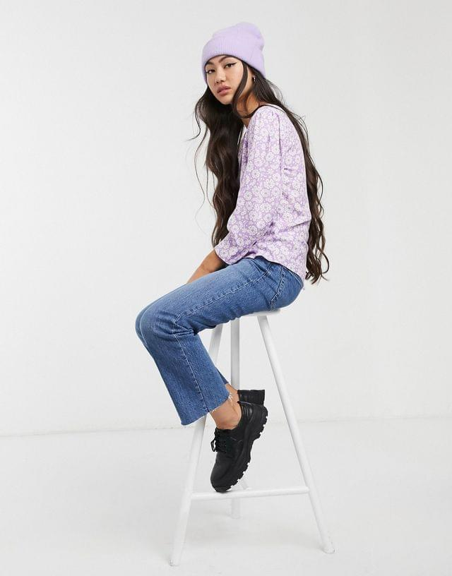 Women's Monki floral print puff sleeve button through blouse in lilac