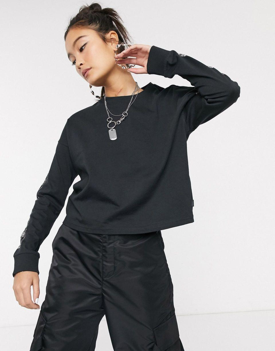 Women's Noisy May top with barcode print on sleeve in black