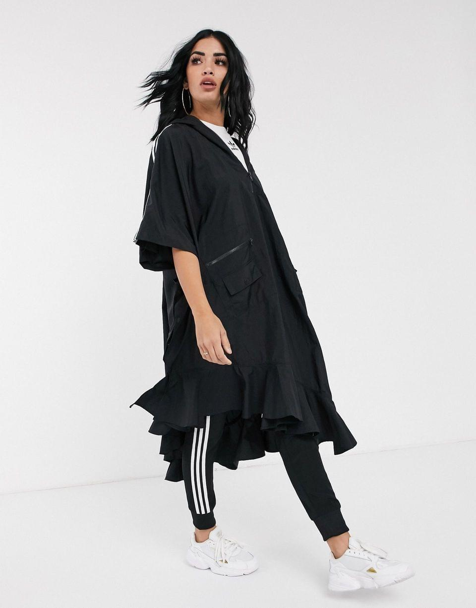Women's adidas Originals x J KOO trefoil kimono rain jacket in black