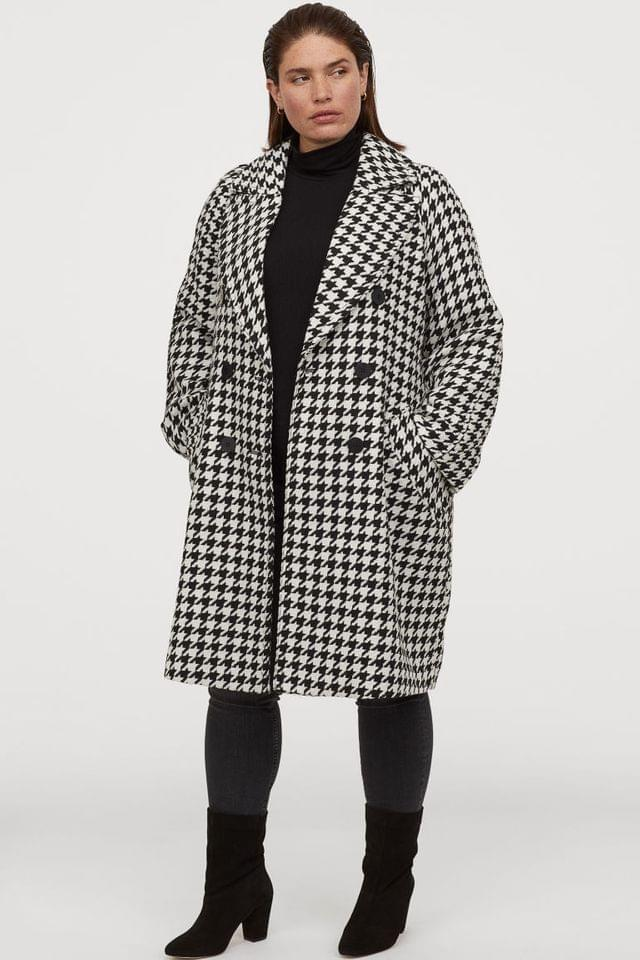 WOMEN H&M+ Houndstooth-pattern Coat