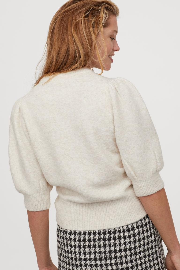 Women's Puff-sleeved Knit Sweater