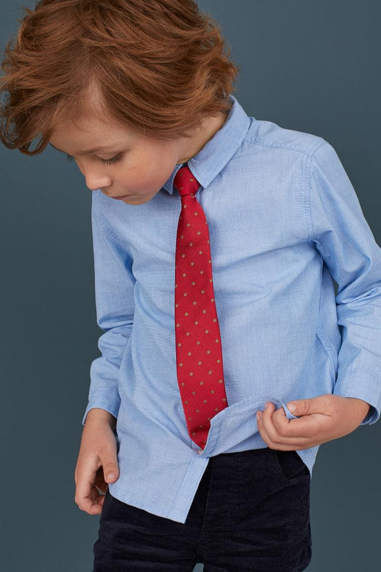 Boy's Cotton Shirt with Tie