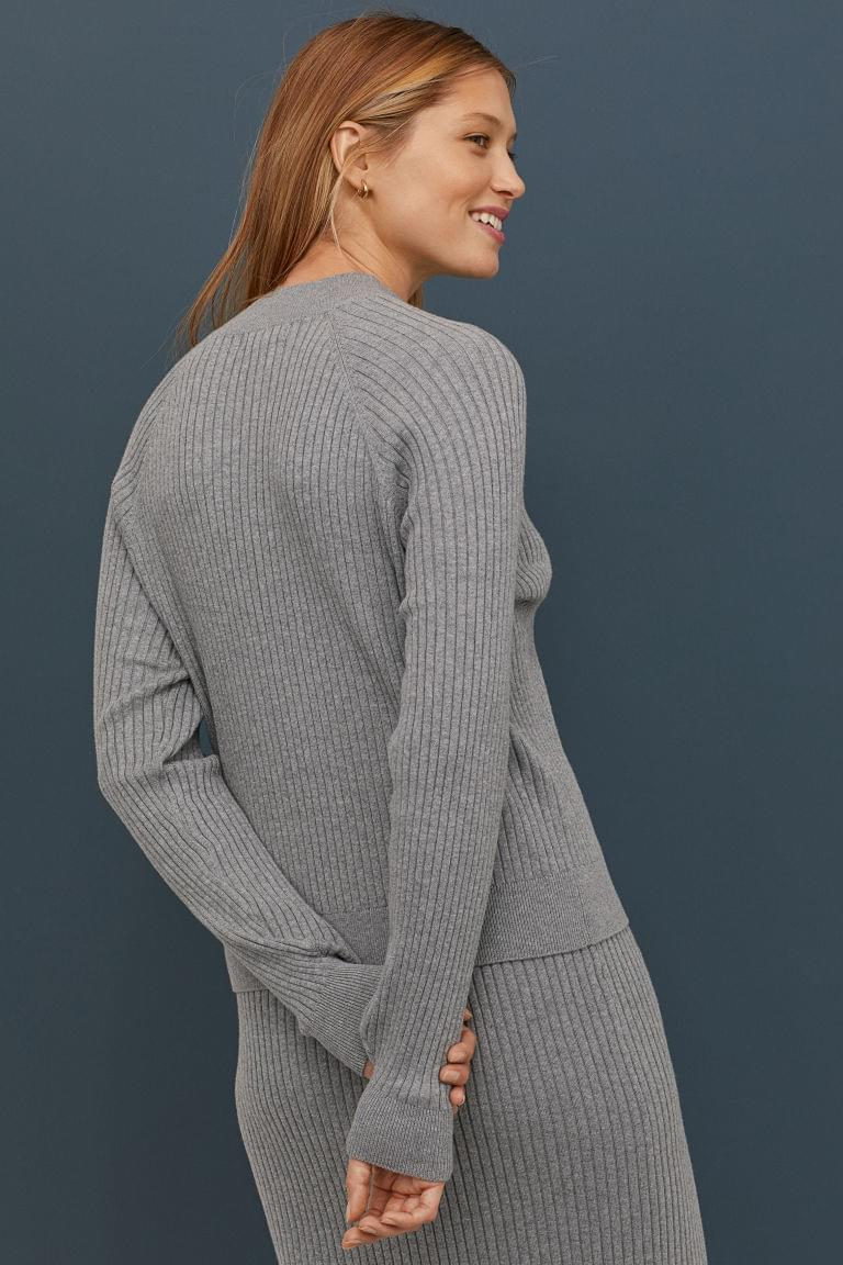 Women's Ribbed Mock-turtleneck Sweater