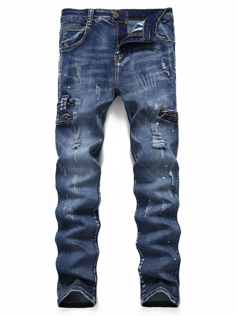 Men's Ripped Scratch Painting Dots Casual Jeans - Denim Dark Blue 32