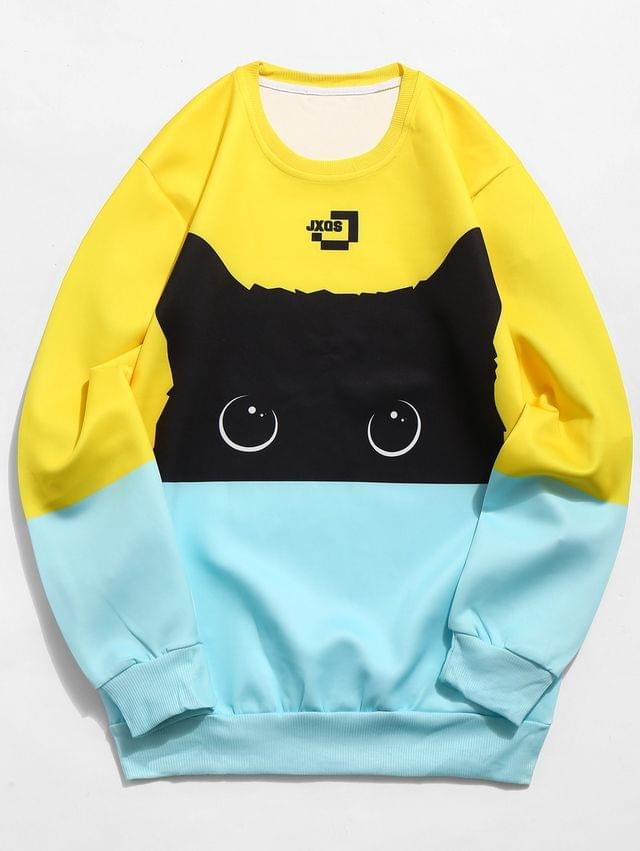 MEN Color Block Cat Print Sweatshirt - Multi-a Xs