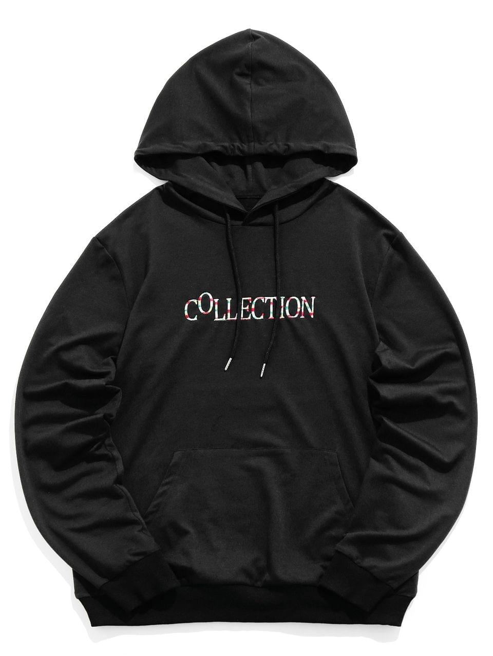 Men's Collection Letter Embroidery Drawstring Hoodie - Black S