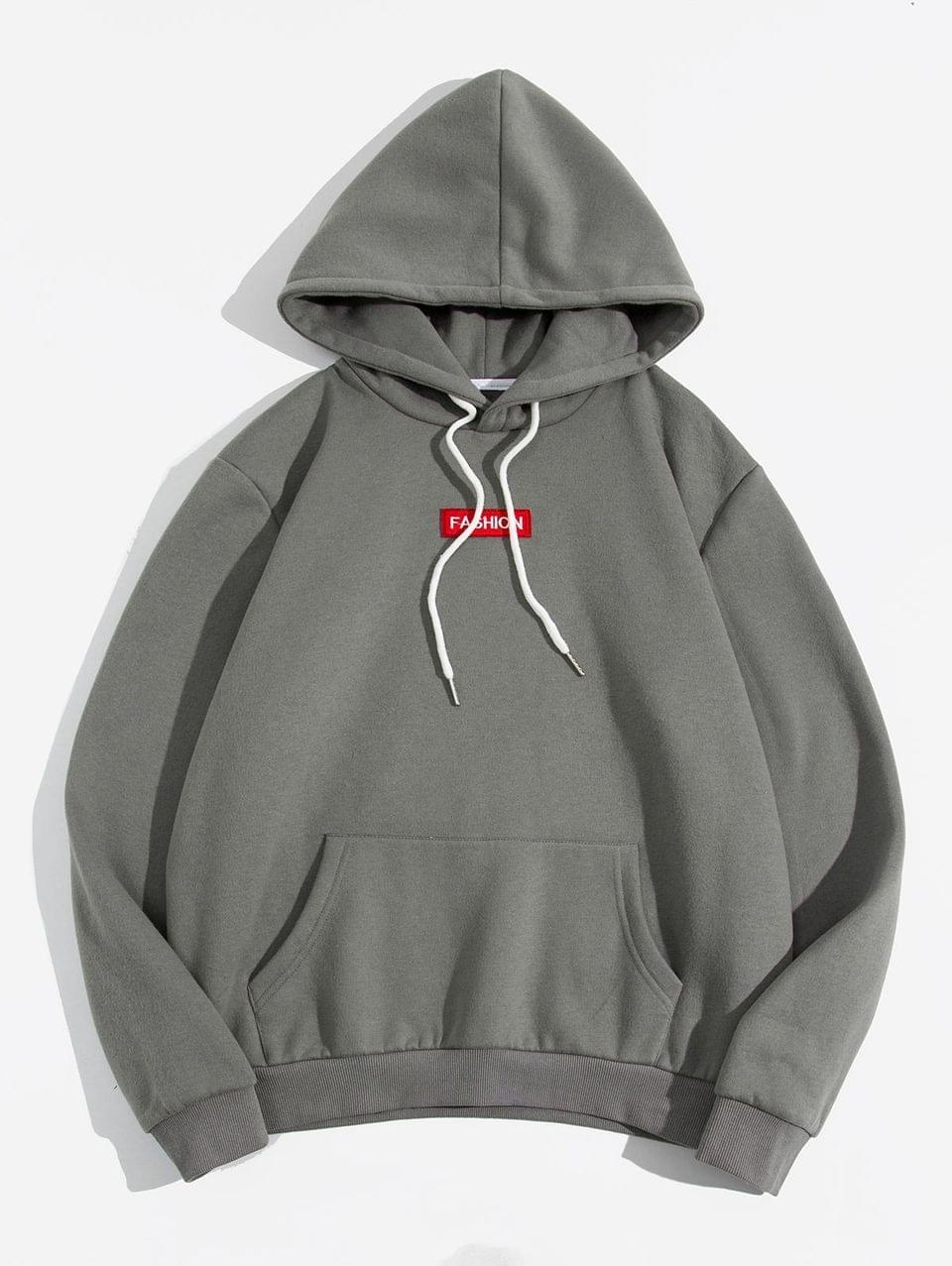 Men's Letter Embroidery Solid Drawstring Fleece Hoodie - Gray 2xl