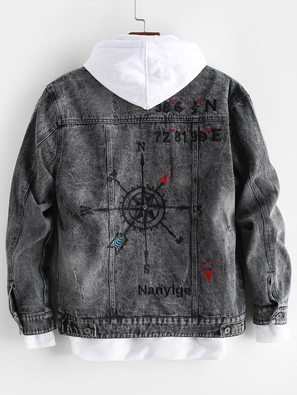 Men's Letter Embroidery Graphic Scratch Jean Jacket - Black S