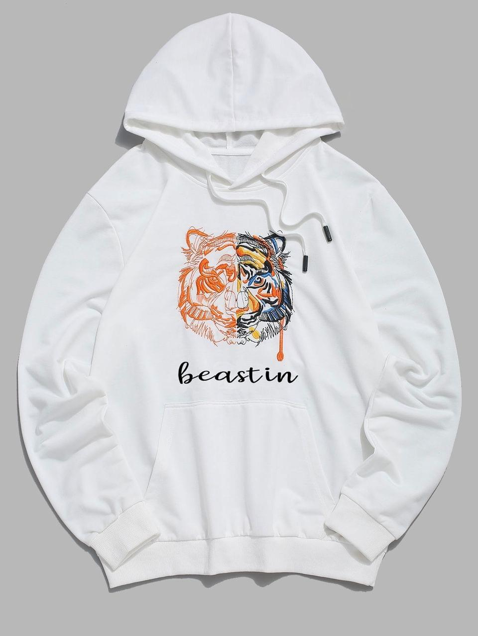 Men's Tiger And Letter Embroidered Kangaroo Pocket Hoodie - White S