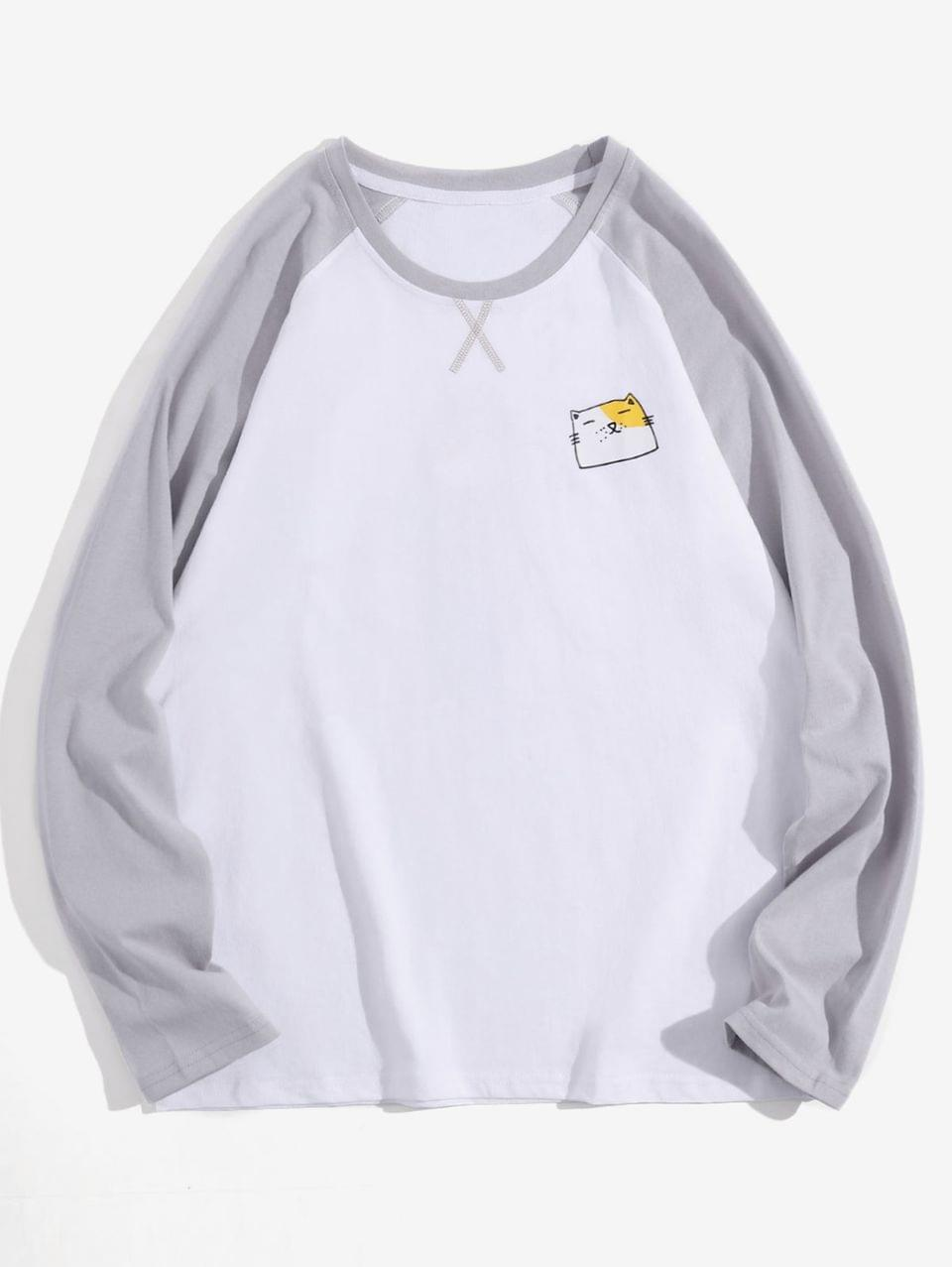 Men's Creative Animal Graphic Casual Long Sleeve T Shirt - White L