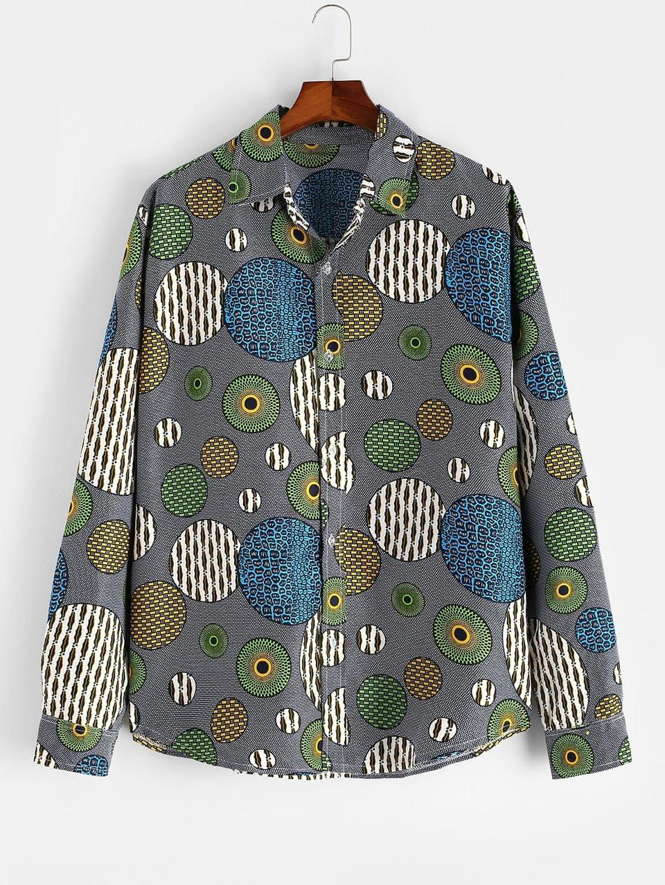 Men's Abstract Round Graphic Button Up Ethnic Shirt - Multi 3xl