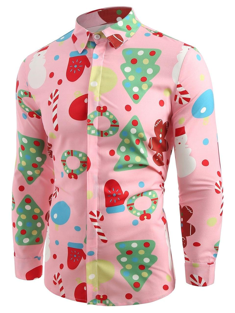 Men's Christmas Theme Button Up Shirt - Pink 2xl