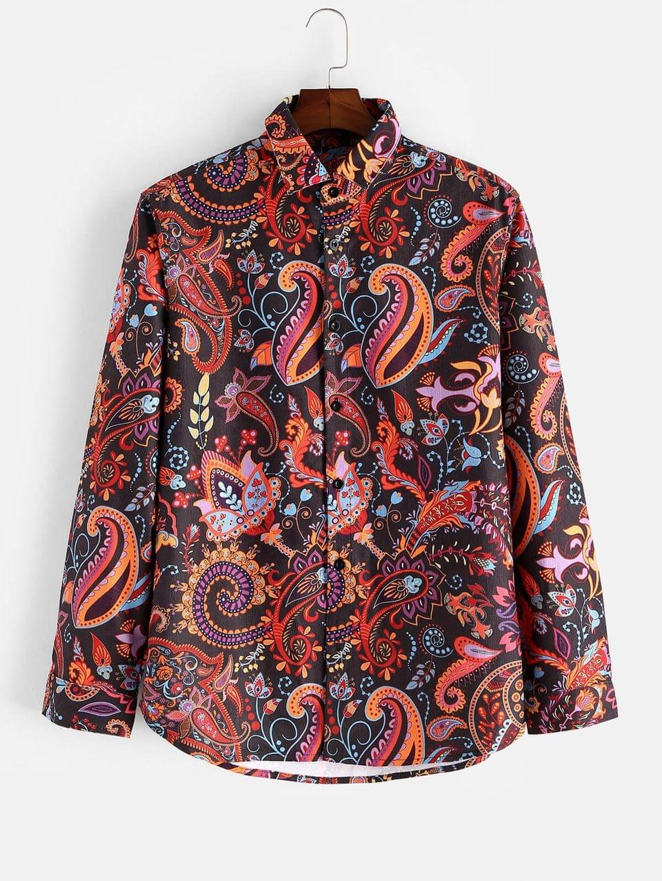 Men's Paisley Flower Allover Print Long Sleeve Button Shirt - Multi M