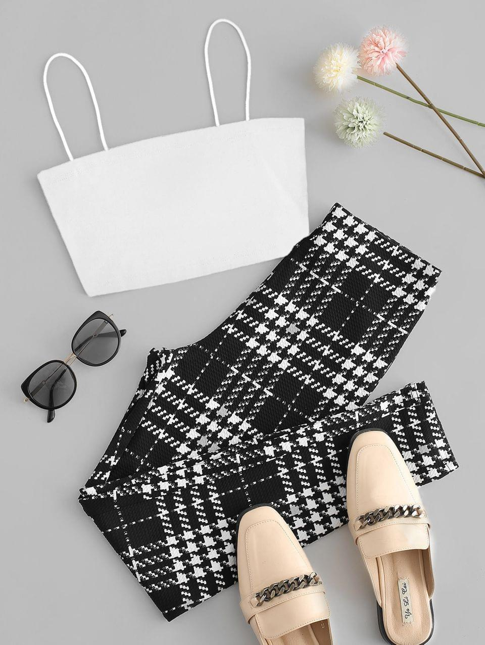 Women's Cami Top And Houndstooth Skinny Pants Set - White Xl