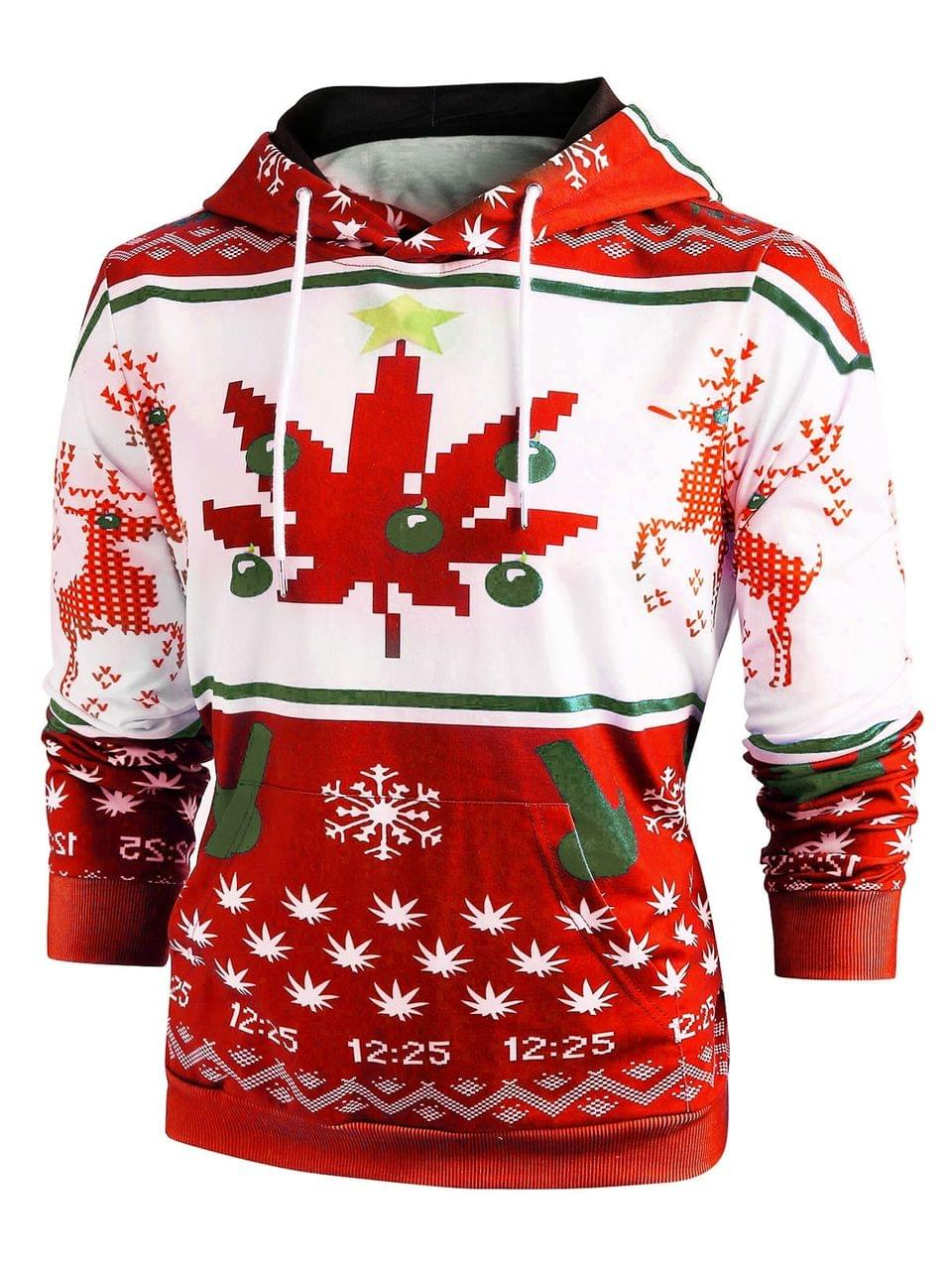 Men's Christmas Snowflake Print Long Sleeve Hoodie - Red 2xl
