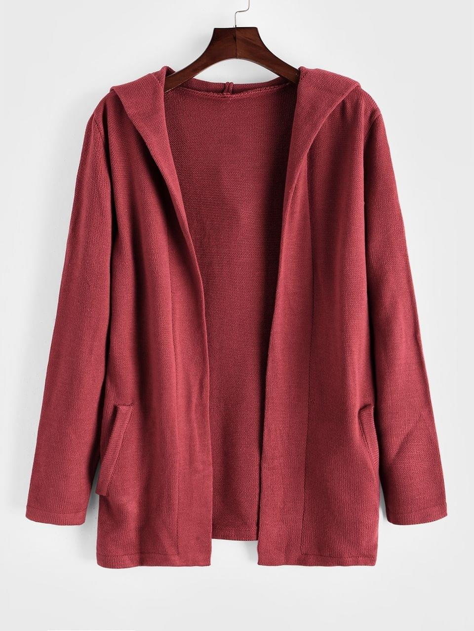 Men's Plain Open Front Hooded Cardigan - Red M