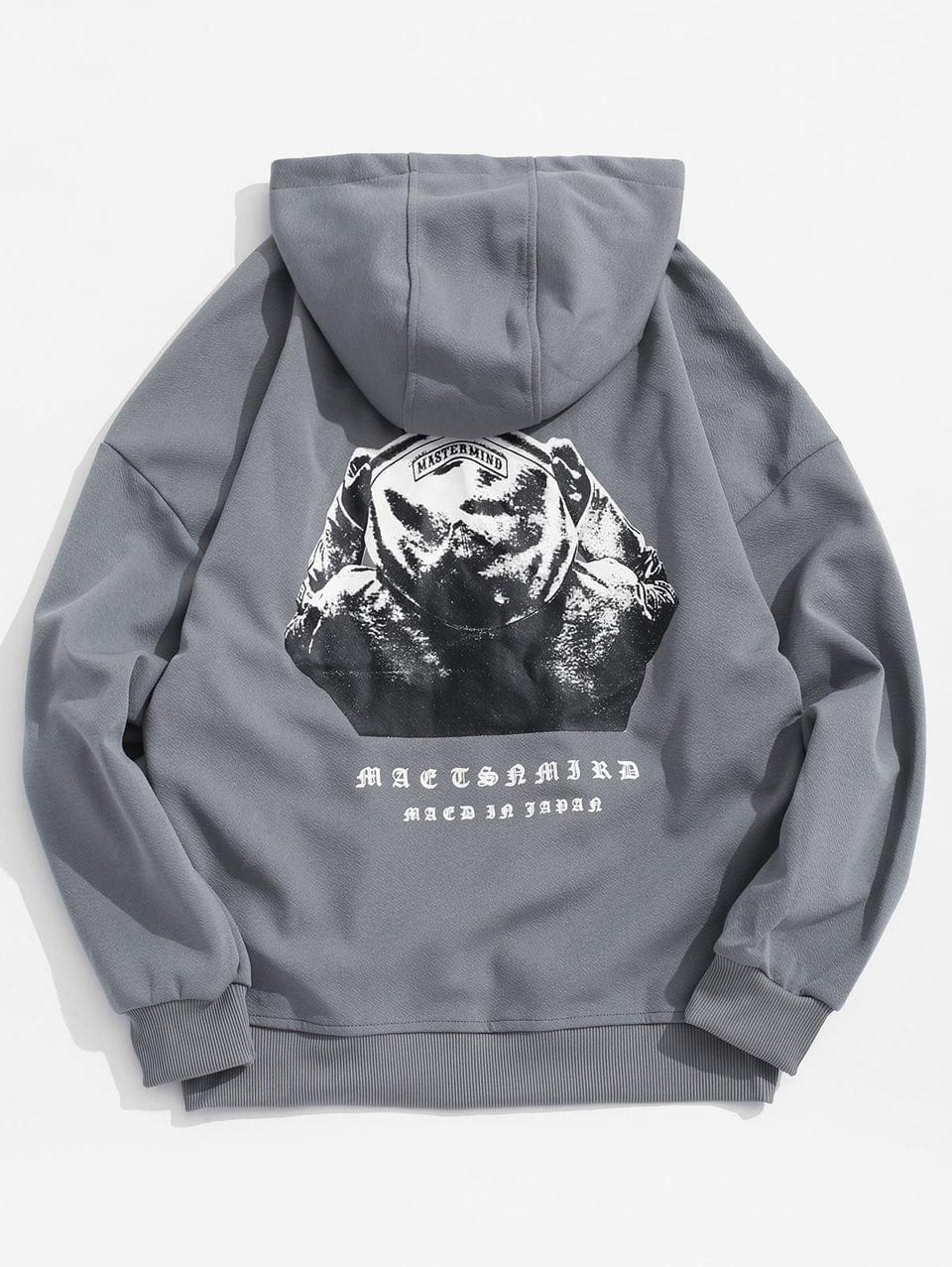 Men's Hooded Men Sign Letter Embroidery Graphic Print Hoodie - Slate Gray Xl