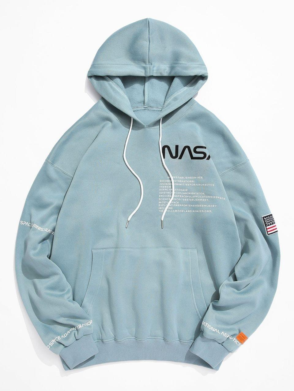 Men's American Flag Patched Drawstring Pocket Hoodie - Macaw Blue Green Xl