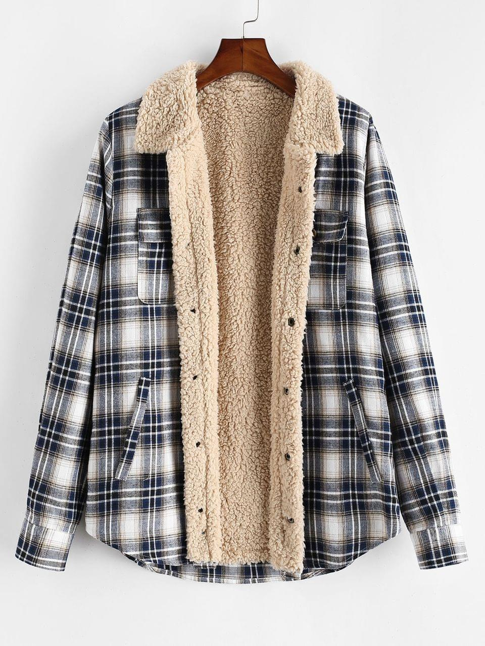 Men's Plaid Pattern Casual Button Fluffy Jacket - Multi L