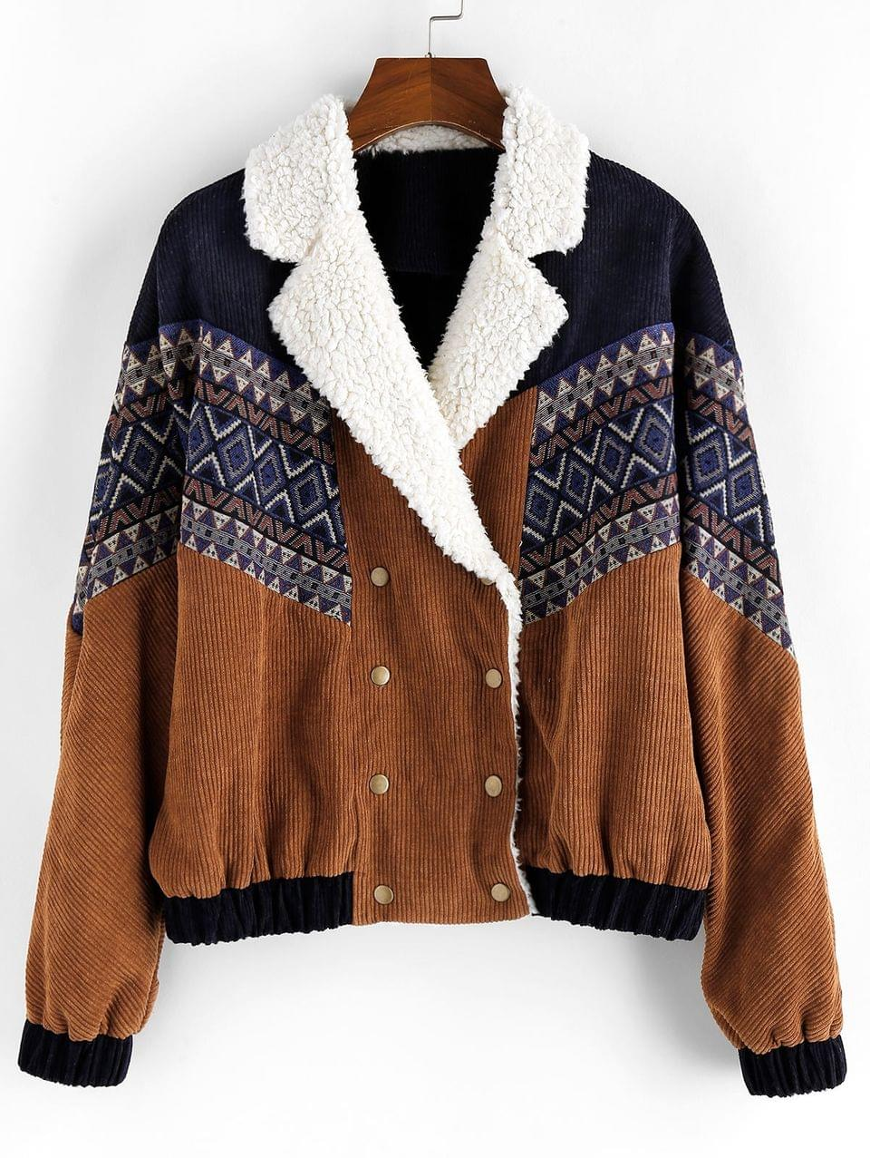 Men's Tribal Printed Button Up Fluffy Jacket - Brown 2xl