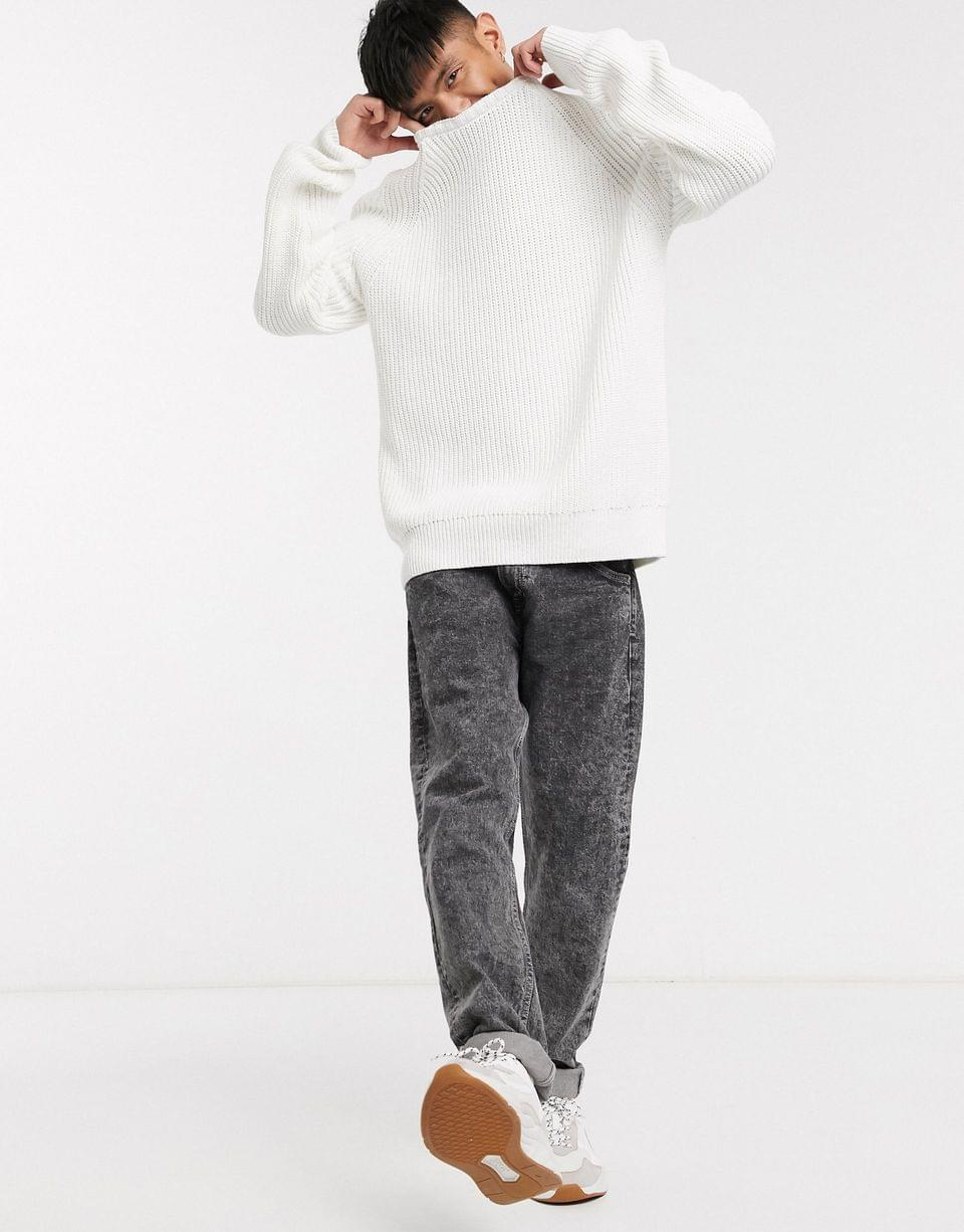 Men's Weekday Sterling knitted sweater in white