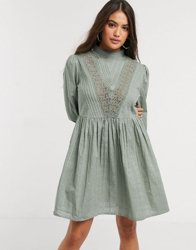 Women's high neck mini smock dress with lace inserts in khaki