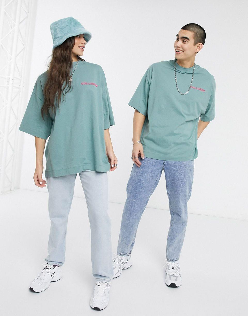 Men's COLLUSION Unisex oversized t-shirt with raised logo print in green