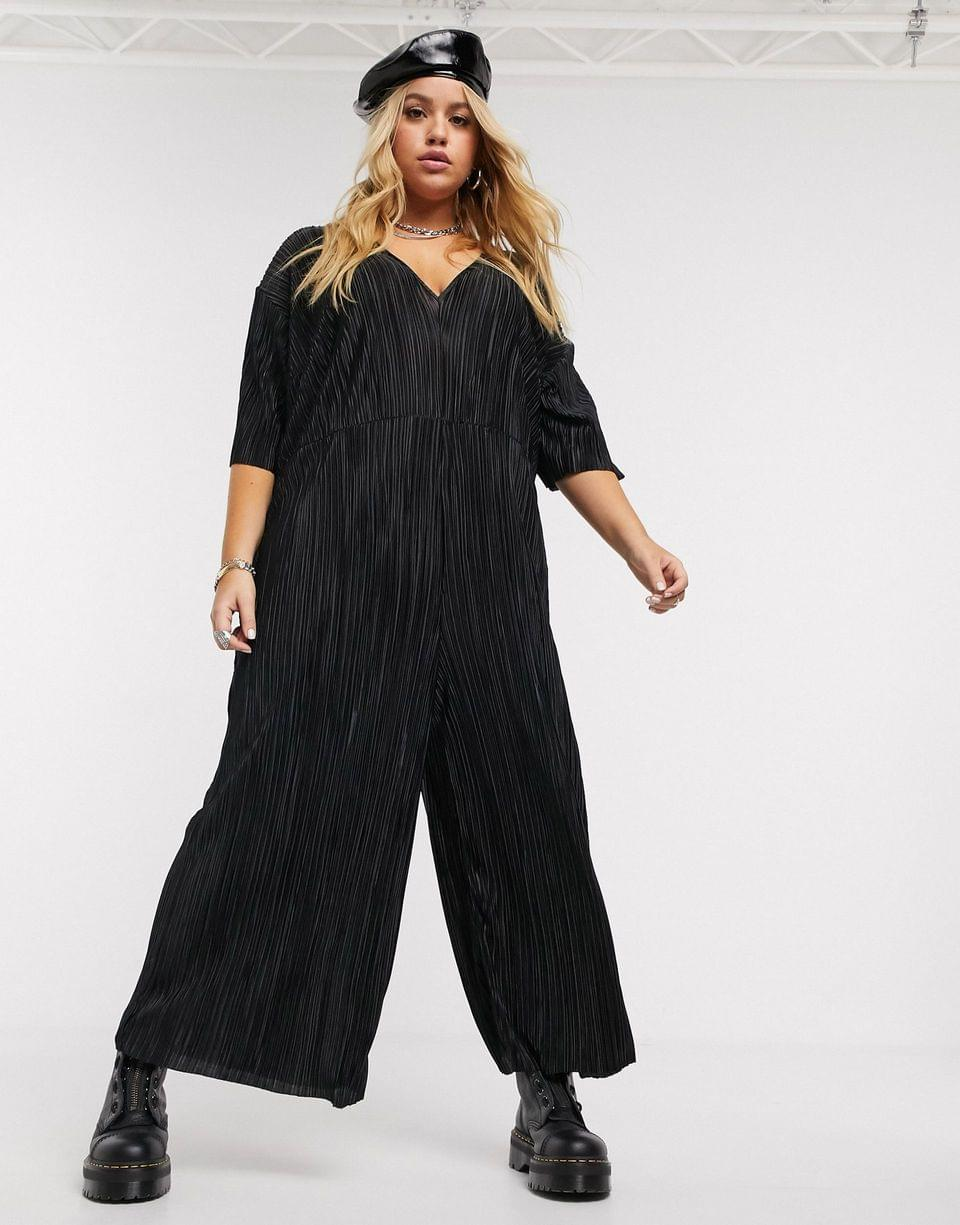 Women's Another Reason Plus wide leg plisse jumpsuit with deep plunge