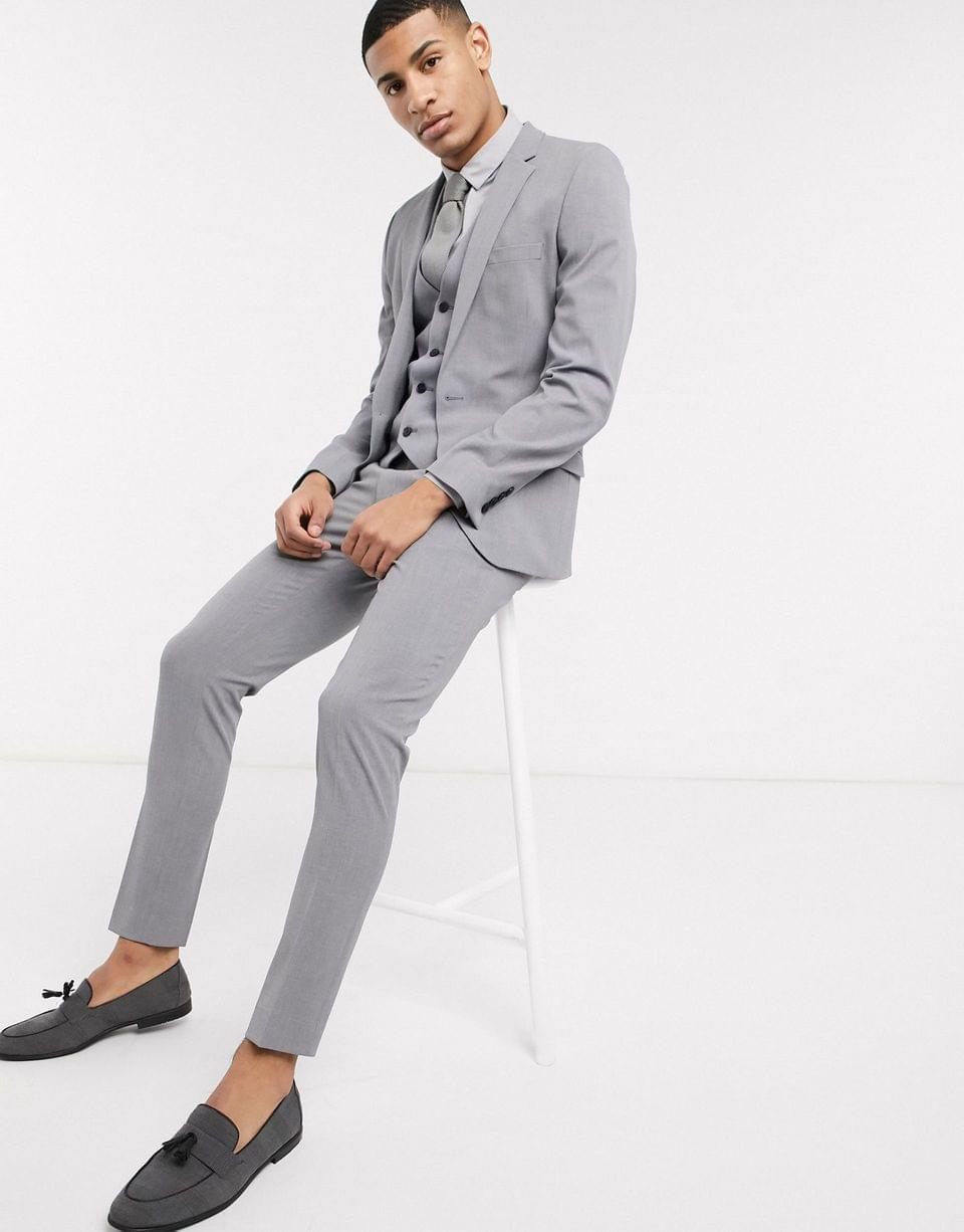 Men's super skinny suit jacket in four way stretch in mid gray
