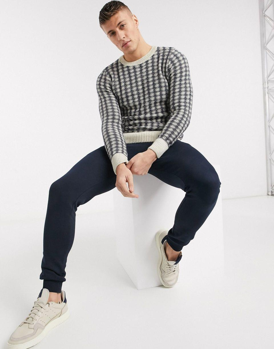 Men's New Look thrist sweater in navy and white