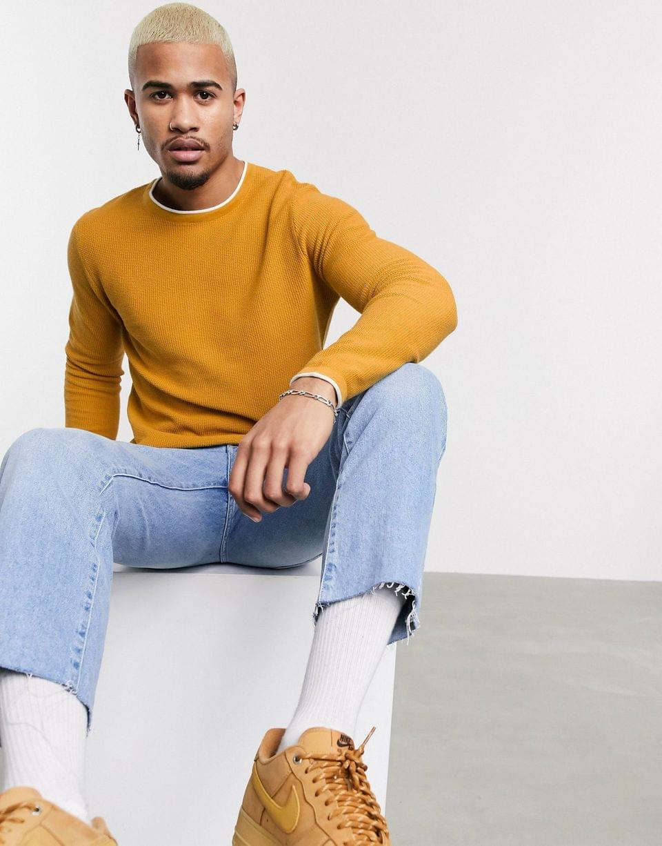 Men's Pull&Bear sweater with contrast trims in mustard