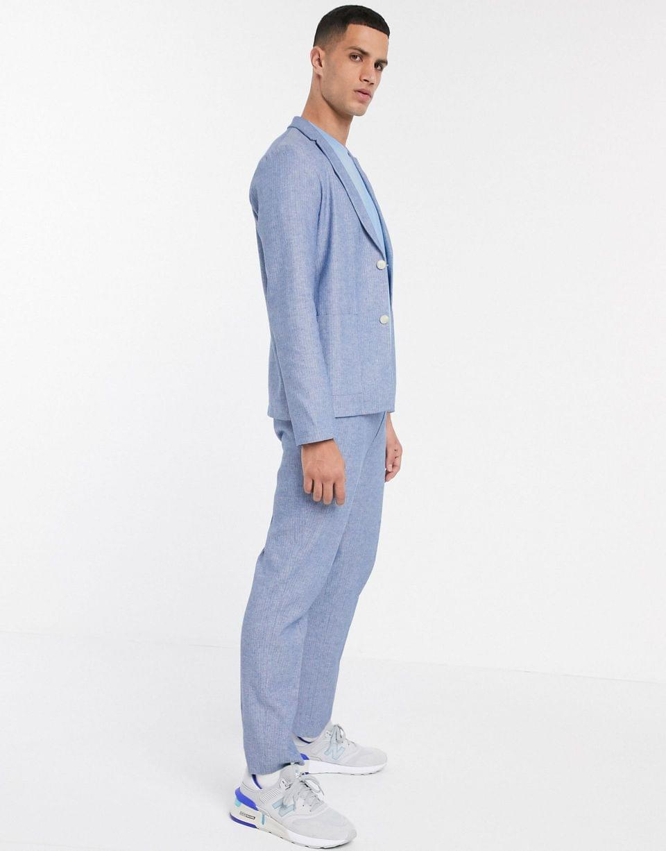 Men's skinny soft tailored suit jacket in linen blend in navy and white